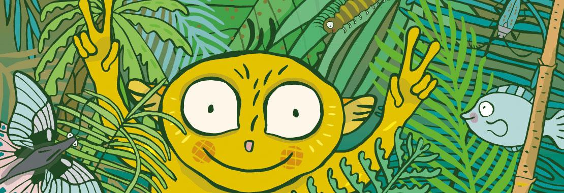 Farbenfrohe Illustration eines Maki mit erhobenen Armen. Mit den Händen macht er das Peace-Zeichen.