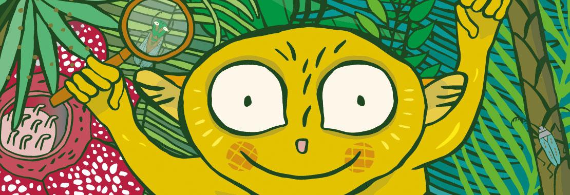 Illustration eines makis mit Lupe umgeben von Regenwaldpflanzen
