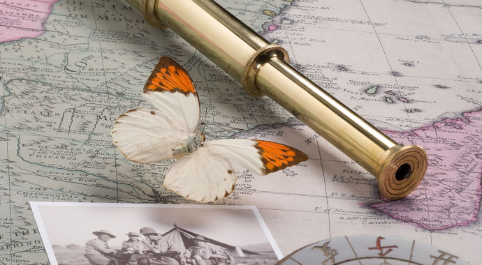 Old world map with binoculars, a butterfly and a postcard on it