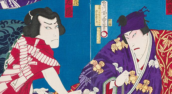 Ein japanischer Holzschnitt, der zwei Figuren zeigt