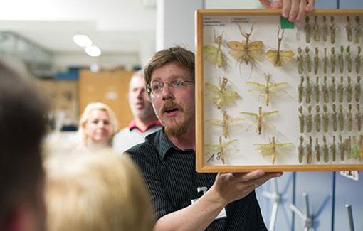 Ein Mann hält einen Insektenkasten in die Höhe und erklärt Besucher*innen etwas